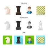 Vektorillustration av den schackmatta och tunna symbolen Samling av schackmatt- och målmaterielsymbolet för rengöringsduk royaltyfri illustrationer