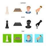 Vektorillustration av den schackmatta och tunna symbolen Ställ in av schackmatt- och målmaterielsymbolet för rengöringsduk vektor illustrationer