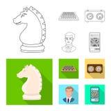 Vektorillustration av den schackmatta och tunna symbolen Ställ in av schackmatt- och målvektorsymbolen för materiel stock illustrationer