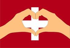 Vektorillustration av den Schweiz flaggan och händer som gör en hjärta att forma Royaltyfria Bilder