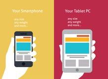 Vektorillustration av den smarta telefonen och minnestavlan (fla Royaltyfria Bilder