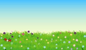 Vektorillustration av den soliga ängen med grönt gräs och blommor Royaltyfri Fotografi