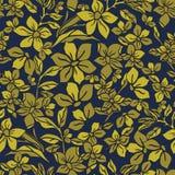 Vektorillustration av den stiliserade, abstrakta mystiska guld- botaniska trädgården vektor illustrationer
