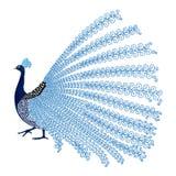 Vektorillustration av den stiliserade abstrakta påfågeln Royaltyfri Foto