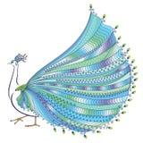 Vektorillustration av den stiliserade abstrakta påfågeln Arkivfoton