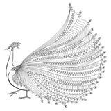 Vektorillustration av den stiliserade abstrakta påfågeln Royaltyfri Bild