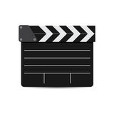 Vektorillustration av den svarta filmclapperen som isoleras på vit Royaltyfria Bilder