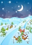 Vektorillustration av den tecknad filmvinterbyn och vägen på natten Bästa perspektivsikt Stad för julhelgdagsafton på natten stock illustrationer