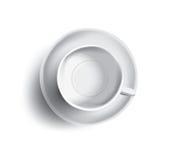Vektorillustration av den tomt kopp te eller kaffe, bästa sikt Royaltyfri Foto
