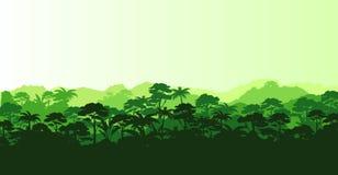 Vektorillustration av den tropiska rainforesten för horisontalpanorama i konturstil med träd och berg, djungel stock illustrationer