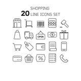 Vektorillustration av den tunna linjen symboler för att shoppa Royaltyfria Foton