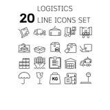 Vektorillustration av den tunna linjen symboler för logistiskt royaltyfri illustrationer