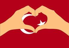 Vektorillustration av den Turkiet flaggan och händer som gör en hjärta att forma Arkivfoton