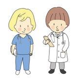 Vektorillustration av den ungeyrken, doktorn och sjuksköterskan När väx upp, vad jag önskar att ska vara Barnockupationdräkt Barn Royaltyfria Bilder