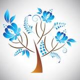 Vektorillustration av det abstrakta härliga trädet med den blåa blom- beståndsdelen i ryskt gzhelstilblad Arkivfoton