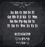Vektorillustration av det chalked alfabetet Arkivfoto