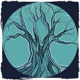 Vektorillustration av det dekorativa trädet Arkivbild
