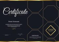 Vektorillustration av det guld specificerade certifikatet Arkivfoton