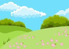 Vektorillustration av det härliga fältlandskapet med en gryning, gröna kullar, en blå himmel för ljus färg och rosa blommor stock illustrationer