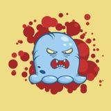 Vektorillustration av det ilskna monstret för tecknad film med stora tänder på bakgrund för blodfläckar stock illustrationer