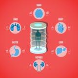 Vektorillustration av det medicinska begreppet för vård- rastrering med ico stock illustrationer