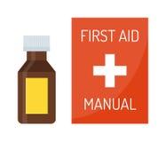 Vektorillustration av det medicinska nödläget för första hjälpensatsask Royaltyfri Illustrationer
