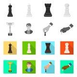 Vektorillustration av det schackmatta och tunna symbolet Samling av schackmatt- och målmaterielsymbolet för rengöringsduk vektor illustrationer
