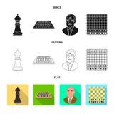 Vektorillustration av det schackmatta och tunna tecknet Samling av schackmatt och illustrationen för målmaterielvektor royaltyfri illustrationer