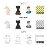 Vektorillustration av det schackmatta och tunna tecknet Ställ in av schackmatt och illustration för målmaterielvektor royaltyfri illustrationer