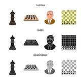 Vektorillustration av det schackmatta och tunna tecknet Ställ in av schackmatt- och målmaterielsymbolet för rengöringsduk stock illustrationer