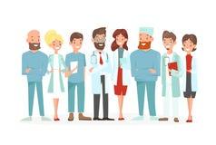 Vektorillustration av doktorslaget Lyckliga och för leende medicinska arbetare som isoleras på en vit bakgrund Sjukhuspersonal in stock illustrationer