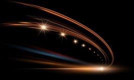 Vektorillustration av dynamiska ljus i mörker Snabb väg i nattetidabstraktion Slingor för ljus för bil för stadsväg vektor illustrationer