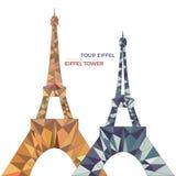 Vektorillustration av Eiffeltorn i låg poly stil Royaltyfri Illustrationer