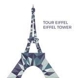 Vektorillustration av Eiffeltorn i låg poly stil Vektor Illustrationer
