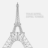 Vektorillustration av Eiffeltorn i polygonal stil Vektor Illustrationer
