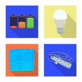 Vektorillustration av elektricitets- och elkrafttecknet Uppsättning av elektricitets- och energimaterielsymbolet för rengöringsdu royaltyfri illustrationer