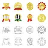 Vektorillustration av emblem- och emblemtecknet Uppsättning av emblem- och klistermärkematerielsymbolet för rengöringsduk royaltyfri illustrationer