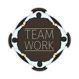 Vektorillustration av emblemet för lagarbetsbegrepp med kontor fyra Arkivbild