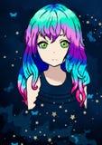 Vektorillustration av en animeflicka med härligt purpurfärgat lutninghår mot en stjärnahimmel i en klänning av stjärnor vektor illustrationer
