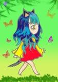 Vektorillustration av en animeflicka med härligt purpurfärgat lutninghår mot en stjärnahimmel i en klänning av stjärnor royaltyfri illustrationer