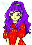 Vektorillustration av en animeflicka med purpurfärgat hår i en röd klänning på en genomskinlig bakgrund vektor illustrationer