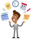 Vektorillustration av en asiatisk tecknad filmaffärsman som jonglerar, symboler för tidledning, kalender, schema som möter stoppt stock illustrationer