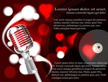 Vektorillustration av en begreppskaraoke, mikrofon, sång, konsert Royaltyfri Fotografi