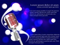Vektorillustration av en begreppskaraoke, mikrofon, sång, konsert Royaltyfria Bilder
