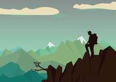 Vektorillustration av en bergsbestigare stock illustrationer