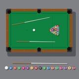 Vektorillustration av en billiardtabell med den gröna torkduken, bollar och bästa sikt för stickreplik Arkivbilder