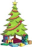 Vektorillustration av en dekorerad julgran med olika gåvor under Arkivbild