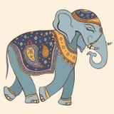 Vektorillustration av en elefant. Indisk stil Royaltyfria Bilder