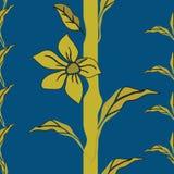 Vektorillustration av en evig nyckfull stiliserad växt med guld- gula blommor vektor illustrationer