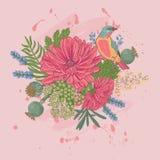 Vektorillustration av en fågel och blommor Arkivfoto